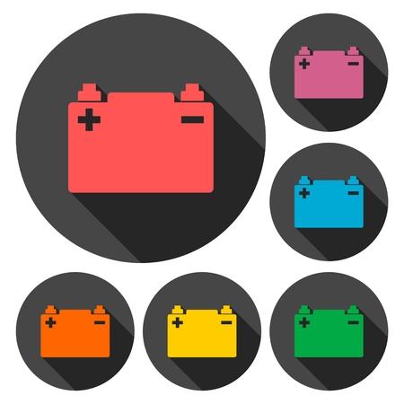 Auto-Batterie-Icons Set mit langen Schatten