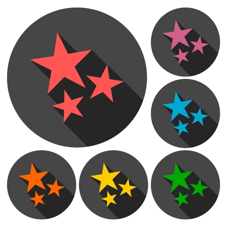 favorite colour: Three stars icons set with long shadow