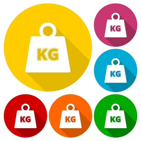 heaviness: Vector Weight Kilogram Icons set with long shadow