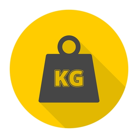 kilograms: Vector Weight Kilogram Icon with long shadow Illustration