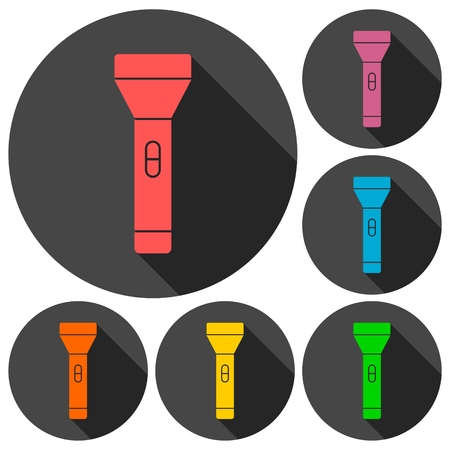 lay off: Flashlight Icons set with long shadow