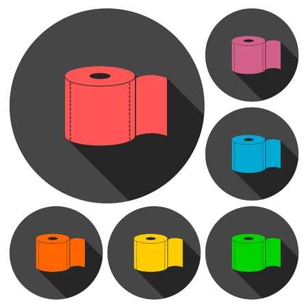 fecal: Toilet Paper Icons set with long shadow