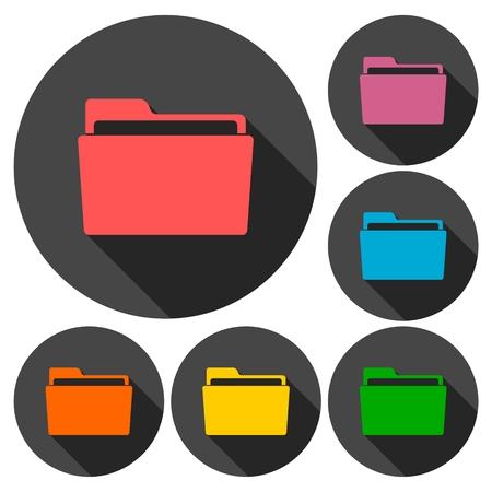 folder icons: Folder icons set with long shadow Illustration