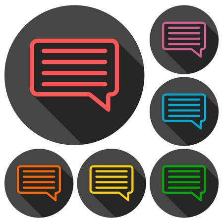 comment: Comment icons set with long shadow