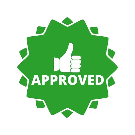 Approved button sign icon