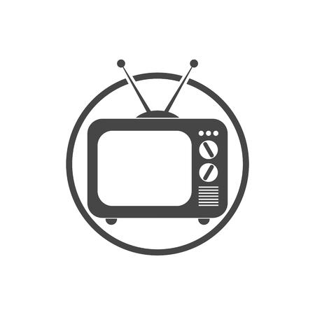 retro tv: Retro old TV icon Illustration