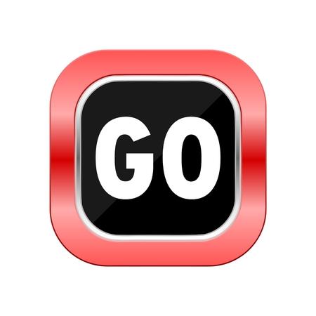 go button: Go icon red button Illustration