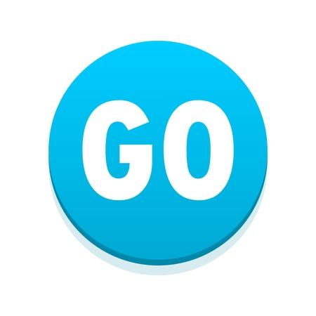 blue button: Go icon blue button Illustration