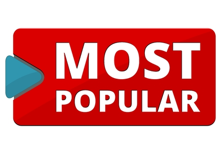 most popular: Most Popular sign, button, icon Illustration