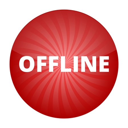 offline: Offline red sign, button, icon Illustration