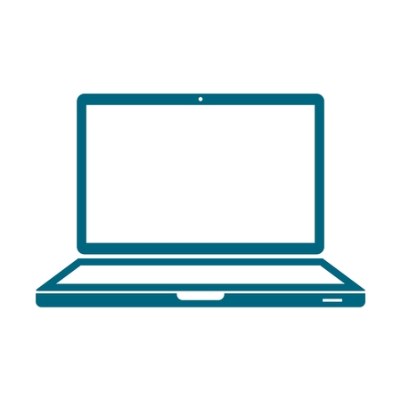 Laptop icon, vector illustration, Flat blue design style