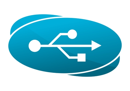 blue button: USB icon, blue button Illustration