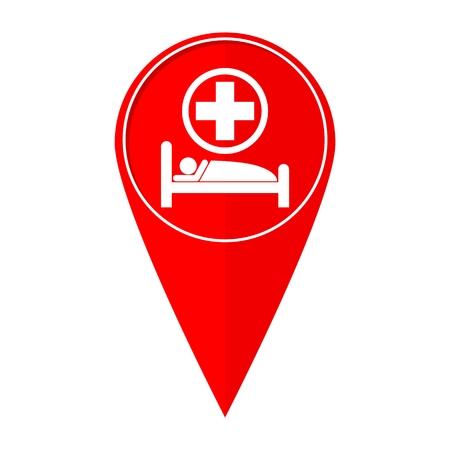 specialised: Map pointer hospital bed Illustration