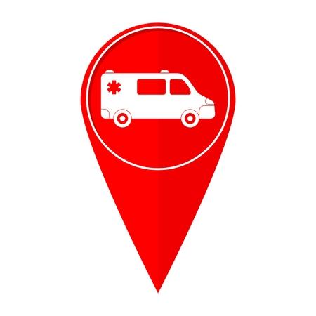 ambulance car: Map pointer Ambulance car