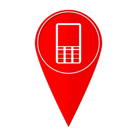 sign not to talk by phone: Map pointer mobile phone Illustration