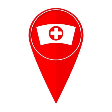 cross street with care: Map pointer nurse cap Illustration