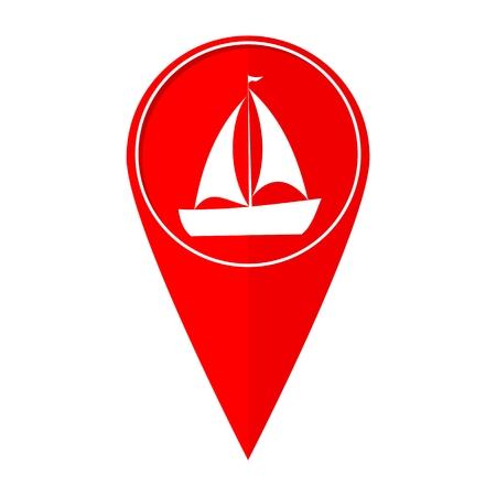pez vela: Mapa puntero del barco pez vela