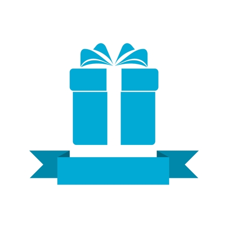 Blue Gift box with ribbon icon Vector Illustration