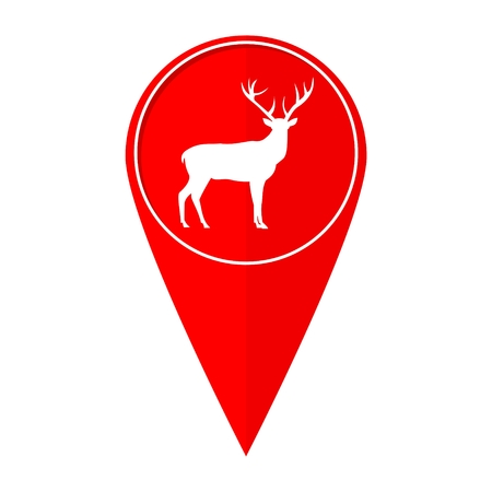 white tail deer: Map pointer deer