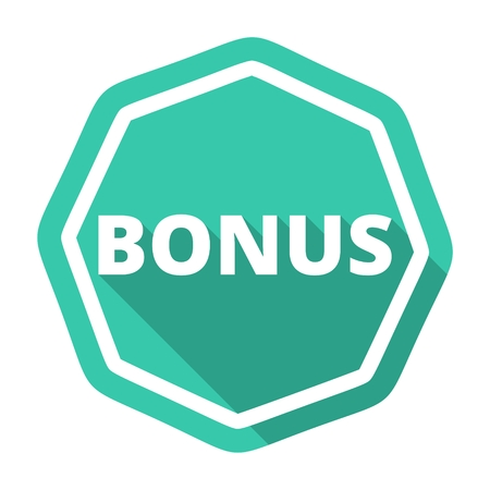 fringe benefit: Bonus green icon with long shadow