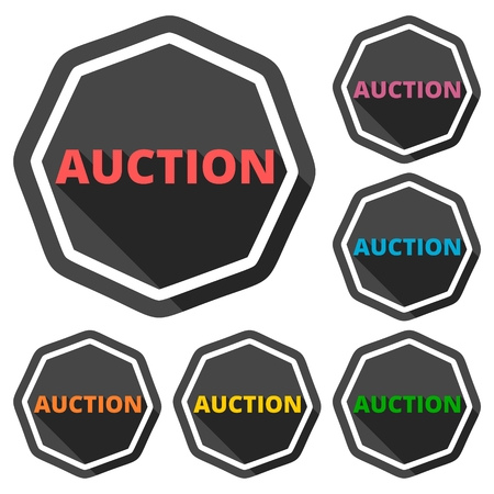 summons: Auction green icons set with long shadow