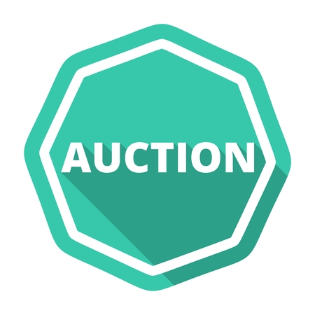 summons: Auction green icon with long shadow