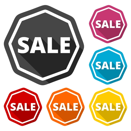 stock price losses: Sale icons set with long shadow Illustration