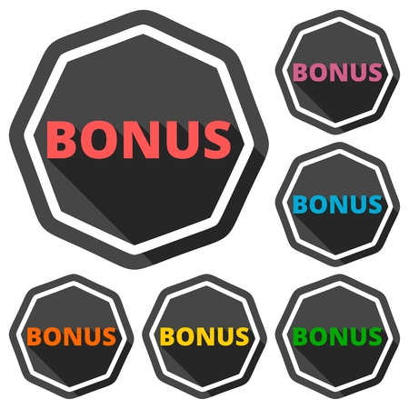 fringe benefit: Bonus green icons set with long shadow