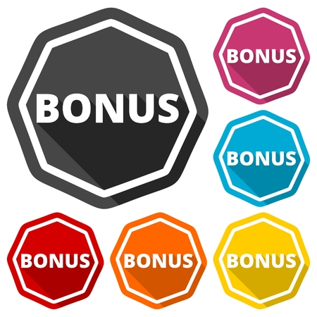 discounting: Bonus green icons set with long shadow