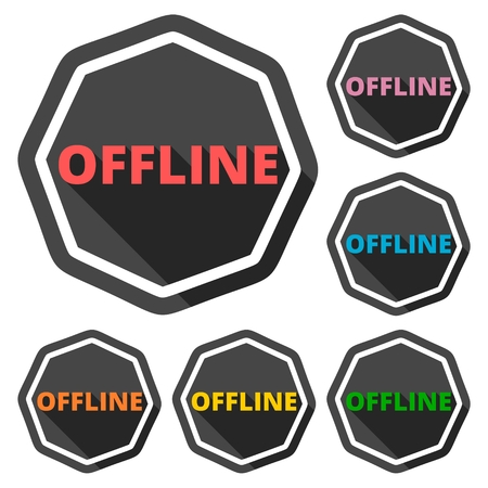 offline: Offline green icons set with long shadow Illustration