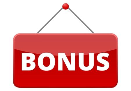 Bonus rotes Schild Standard-Bild - 55254260