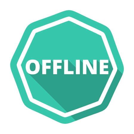 offline: Offline green icon with long shadow Illustration