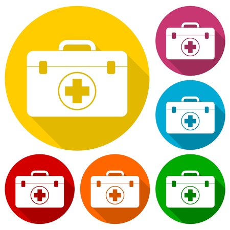 firstaid: First aid box icons set with long shadow Illustration