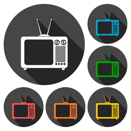 retro tv: Simple Retro TV icons set with long shadow