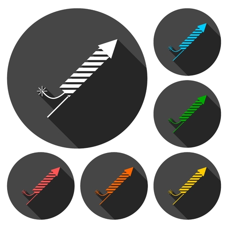 firecrackers: Firecrackers icons set with long shadow