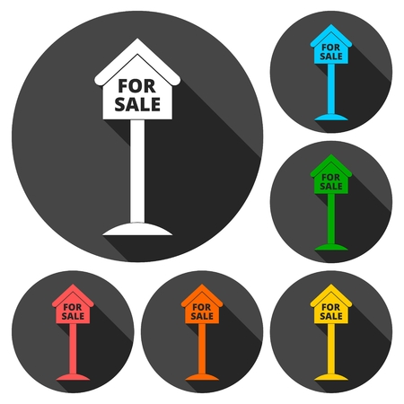 house for sale: For sale house sign, icons set with long shadow