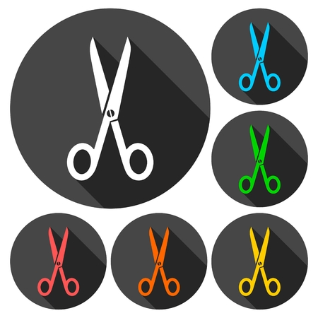 coiffure: Scissors symbol icons set with long shadow