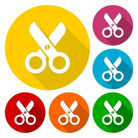 Simple Scissors symbol icons set with long shadow