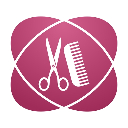 haircutter: Pink sign comb and scissors