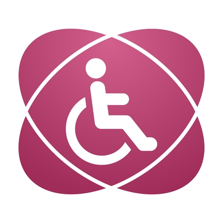 accessibility: Pink sign Disabled icon sign Accessibility