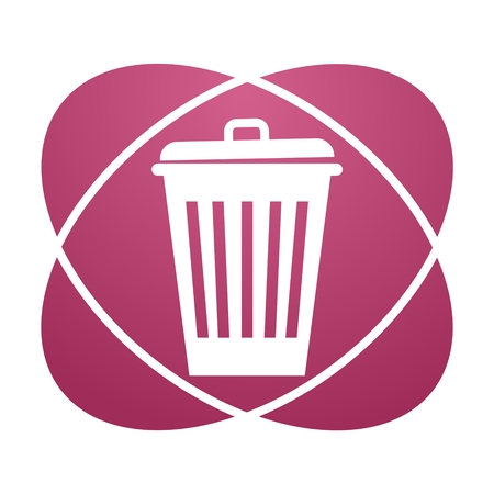 pail tank: Pink sign trash Illustration