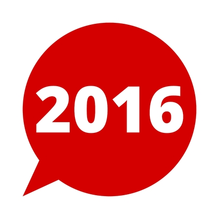 new years resolution: Speech bubble 2016 , Happy new year