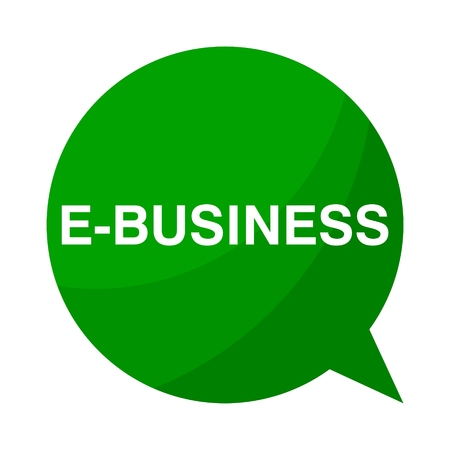 e business: Green Speech Bubble e business