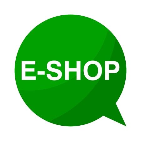 e shop: Green Speech Bubble e shop Illustration
