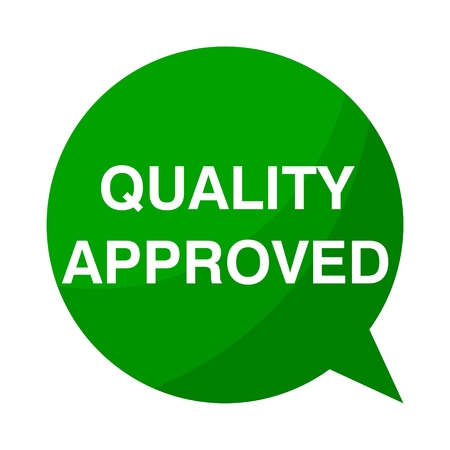 approbation: Green Speech Bubble quality approved
