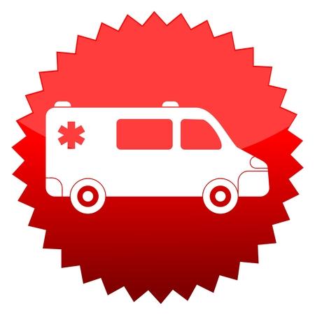 red sun: Red sun sign ambulance car
