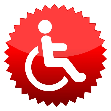 accessibility: Red sun sign Disabled icon sign Accessibility