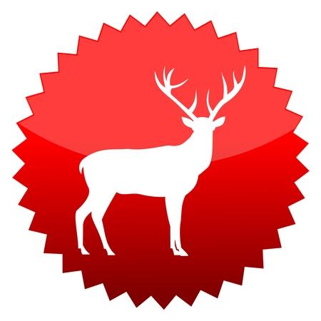 red sun: Red sun sign deer Illustration