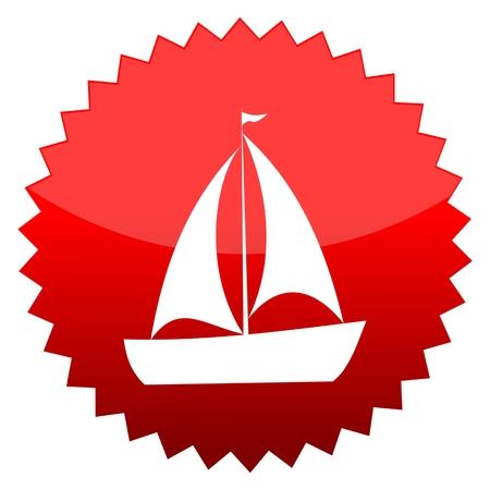 red sun: Red sun sign boat Illustration