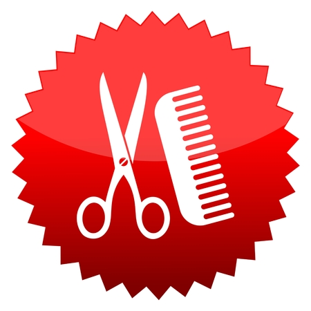 red sun: Red sun sign comb and scissors Illustration